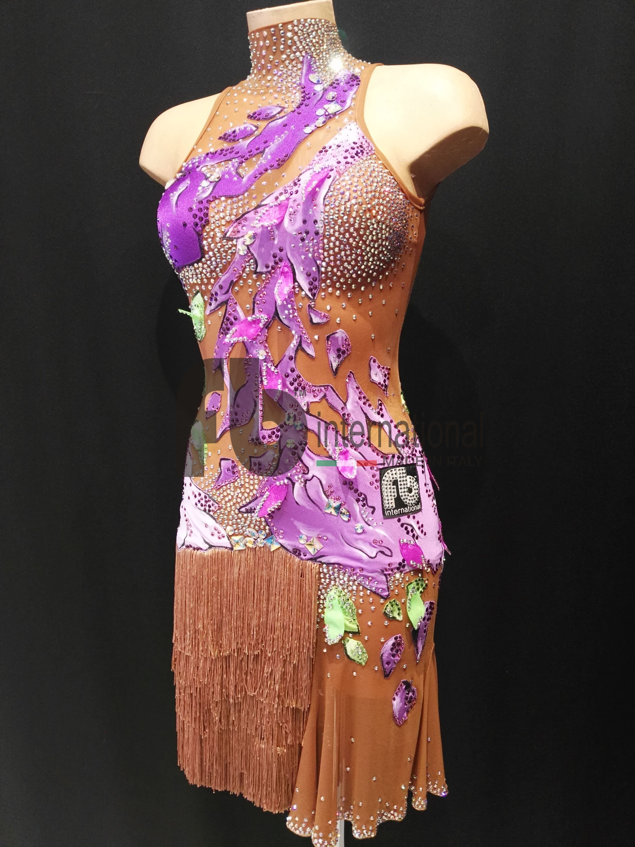 Latin dress made of flesh net with hand painted inserts and rhinestones