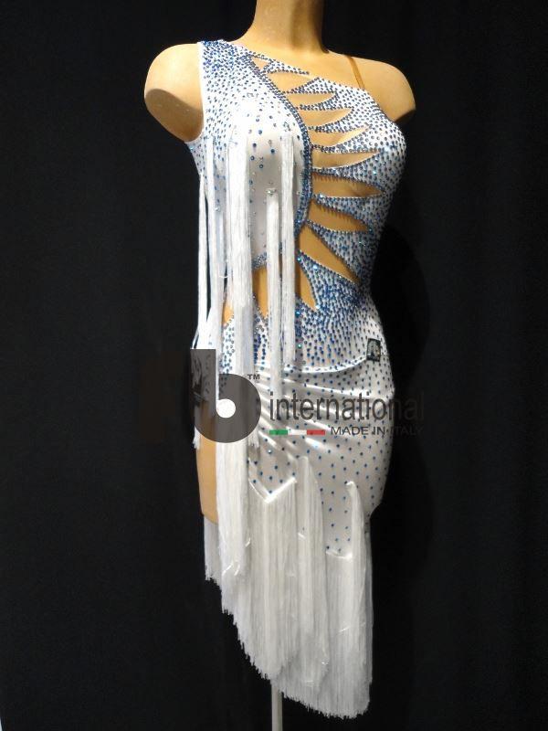White asymmetrical latin dress