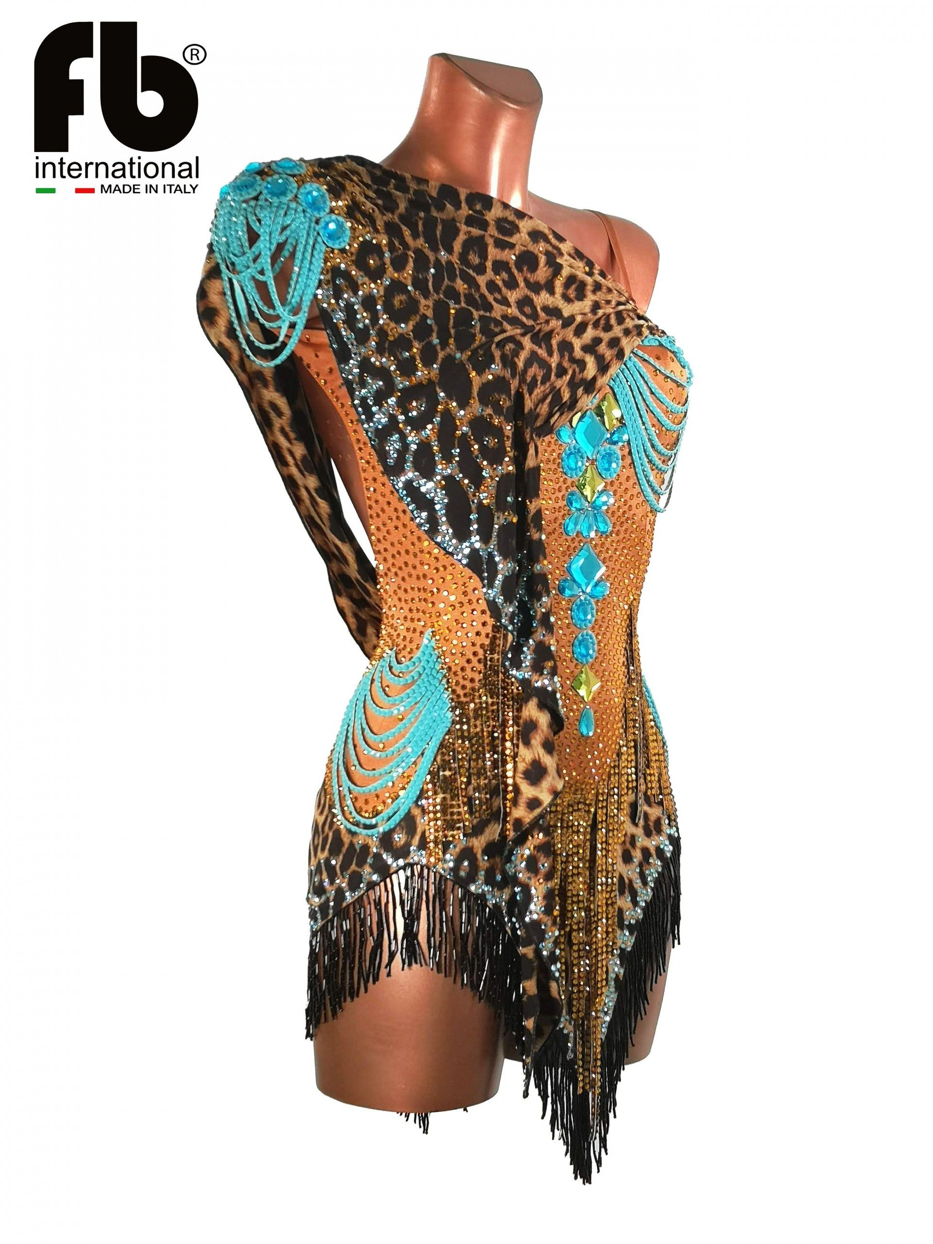 Leopard and turquoise latin dress with beads